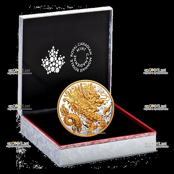 Канада монета 125 долларов Триумфальный Дракон, подарочная упаковка
