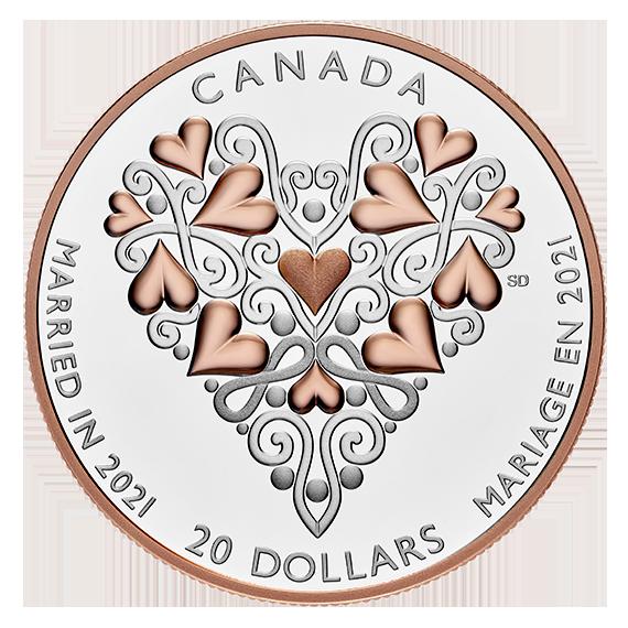 Канада монета 20 долларов Свадебная монета, реверс