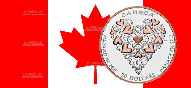 Канада монета 20 долларов Свадебная монета