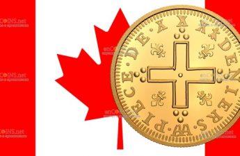 Канада монета 200 долларов Людовик XIV 30 Денье
