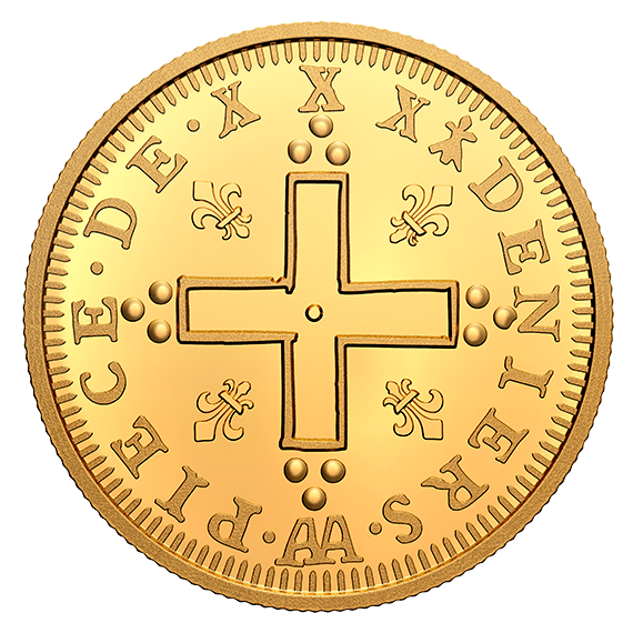 Канада монета 200 долларов Людовик XIV 30 Денье, реверс