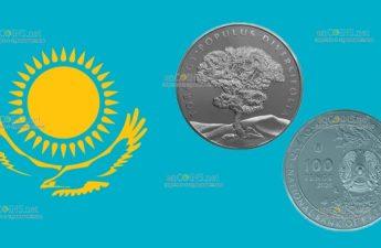 Казахстан монета 100 тенге Тополь Разнолистный