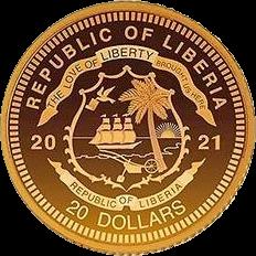 Либерия монета 20 долларов Принцесса Диана, аверс