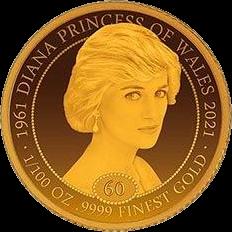 Либерия монета 20 долларов Принцесса Диана, реверс