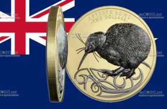Нова Зеландия монета 2 доллара Киви