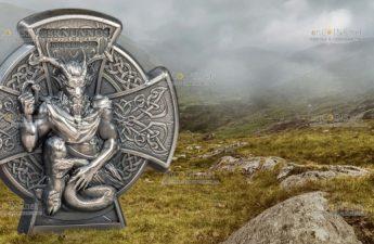 Остров Мэн монета 5 фунтов Кернуннос - Рогатый Бог