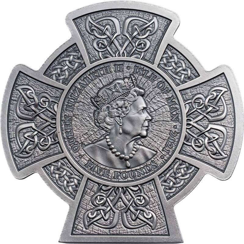 Остров Мэн монета 5 фунтов Кернуннос - Рогатый Бог, аверс