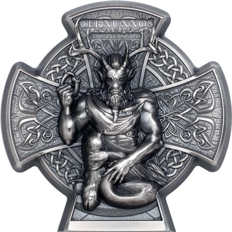 Остров Мэн монета 5 фунтов Кернуннос - Рогатый Бог, реверс