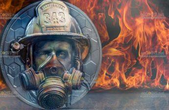 Острова Кука монета 20 долларов Настоящие герои - пожарные