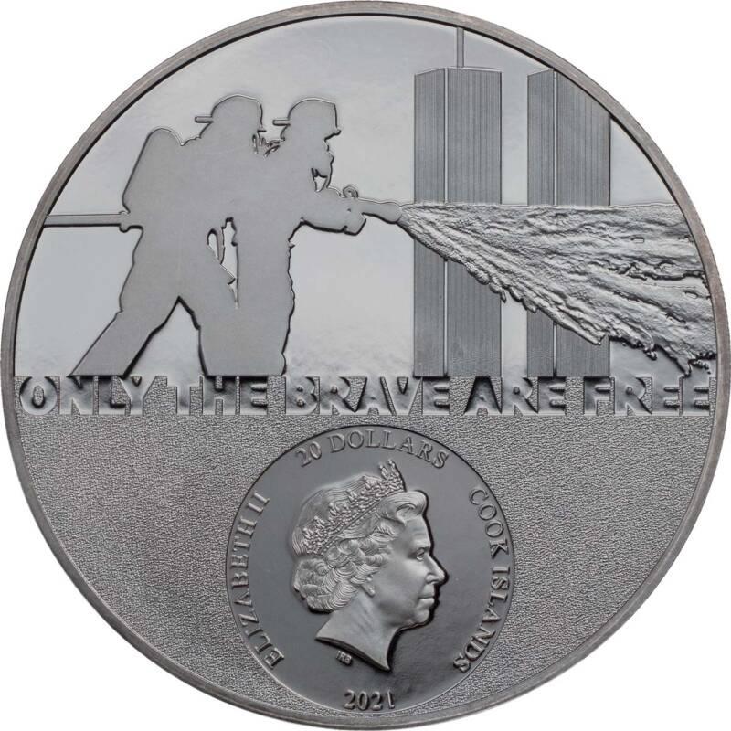 Острова Кука монета 20 долларов Настоящие герои - пожарные, аверс