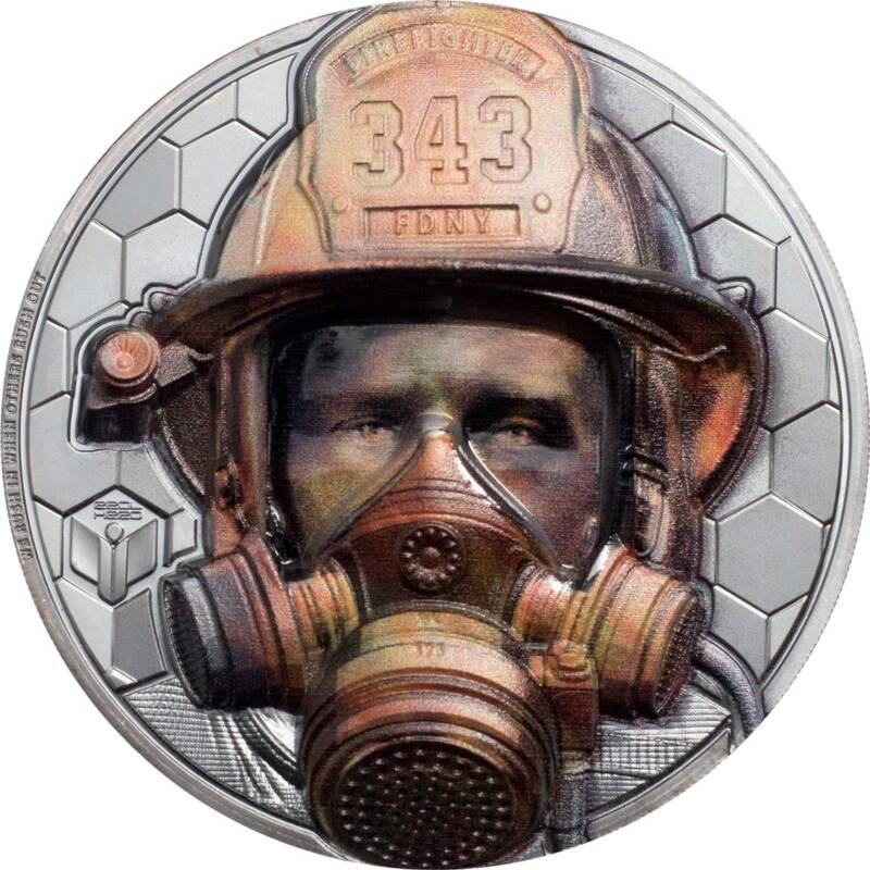 Острова Кука монета 20 долларов Настоящие герои - пожарные, реверс