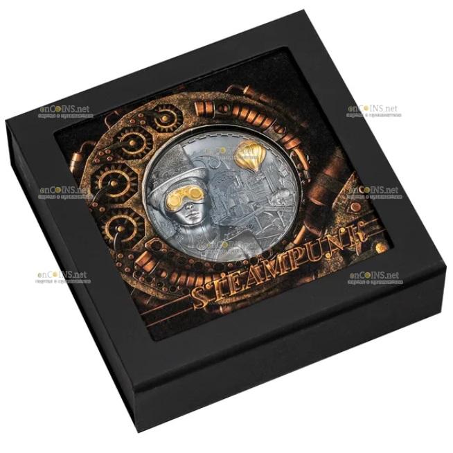 Острова Кука монета 20 долларов Стимпанк, подарочная упаковка