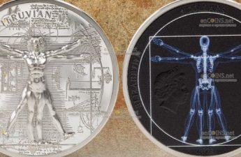 Острова Кука монета 5 долларов Витрувианский человек