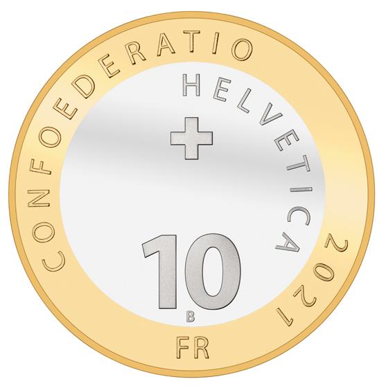 Швейцария монета 10 франков, 2021 год, аверс