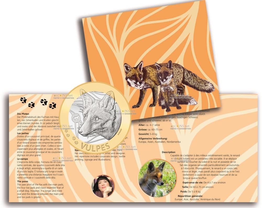 Швейцария монета 10 франков Лисица, подарочная упаковка