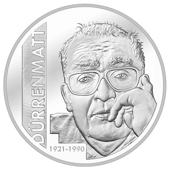 Швейцария монета 20 франков Фридрих Дюрренматт, реверс