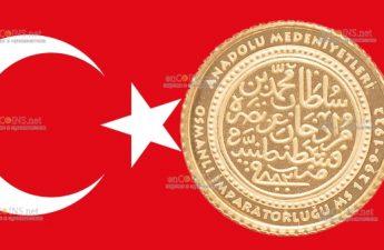 Турции монета 100 лир Османская Империя 1299-1922