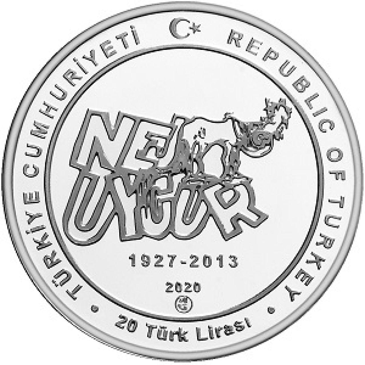 Турция монета 20 лир Неджат Уйгур, аверс