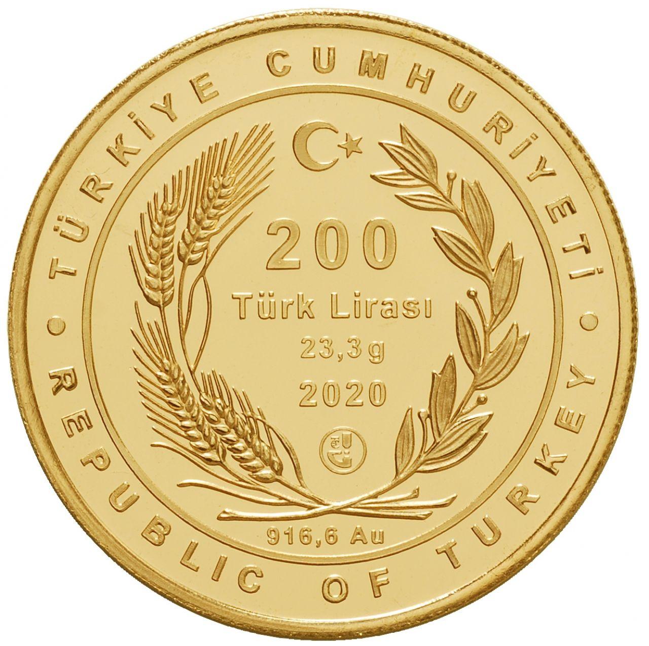 Турция монета 200 лир, золото, 2020 год, аверс