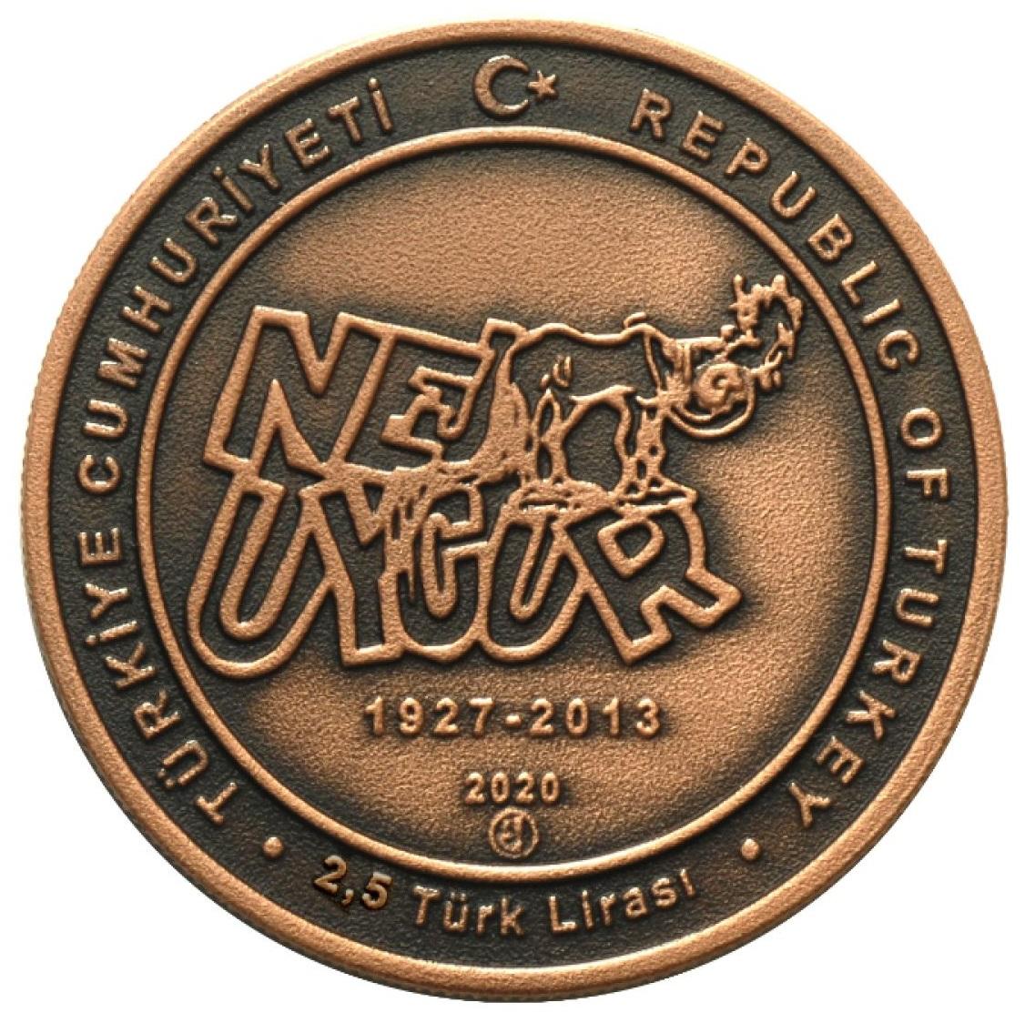 Турция монета 2,5 лиры Неджат Уйгур, аверс