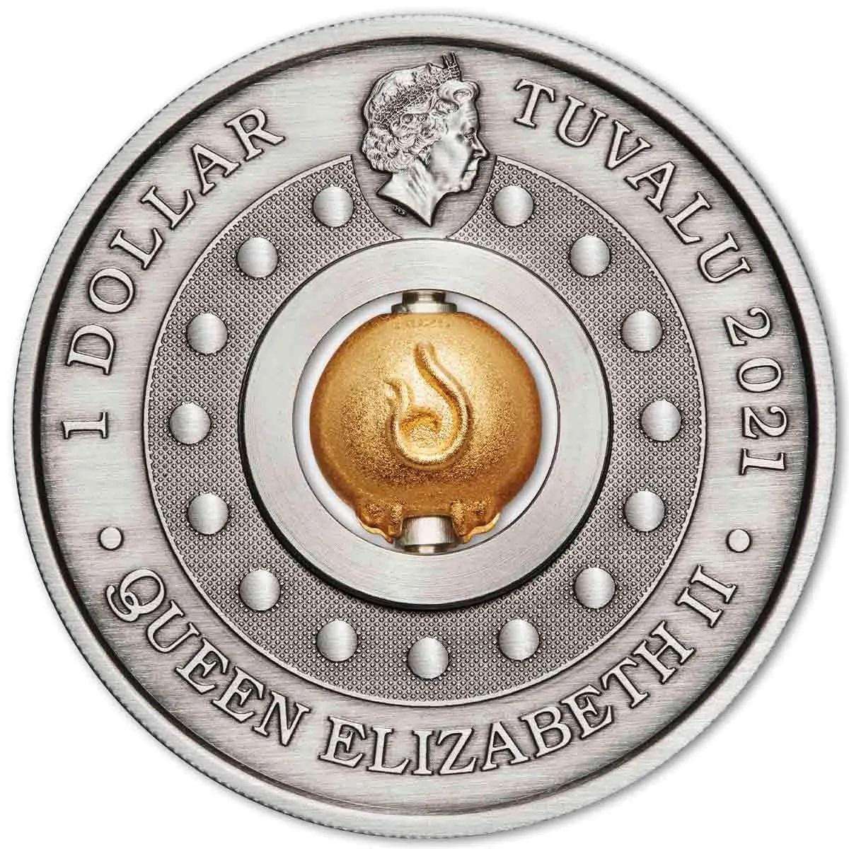 Тувалу 3-D монета 1 доллар Год Быка, аверс