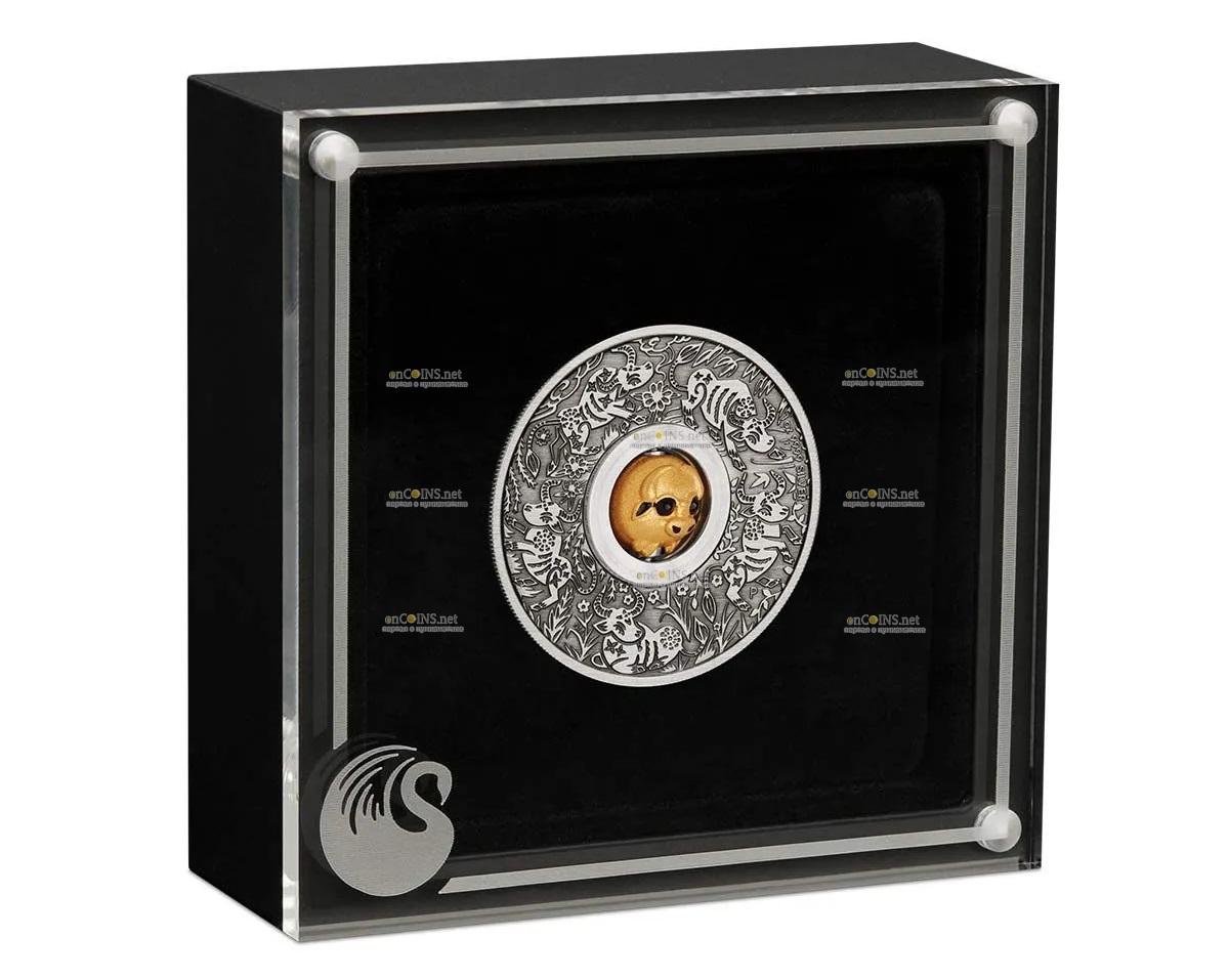 Тувалу 3-D монета 1 доллар Год Быка, подарочная упаковка