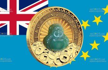Тувалу монета 100 долларов Смеющийся Будда