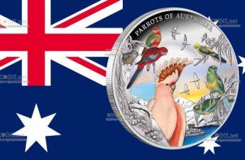 Австралия монета 10 долларов Попугаи Австралии
