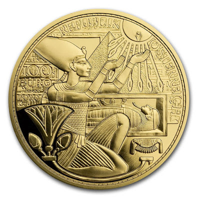 Австрии монета 100 евро Маска Тутанхамона, аверс