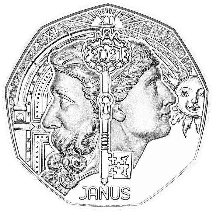 Австрия новогодня монета 2021 год - Янус, реверс
