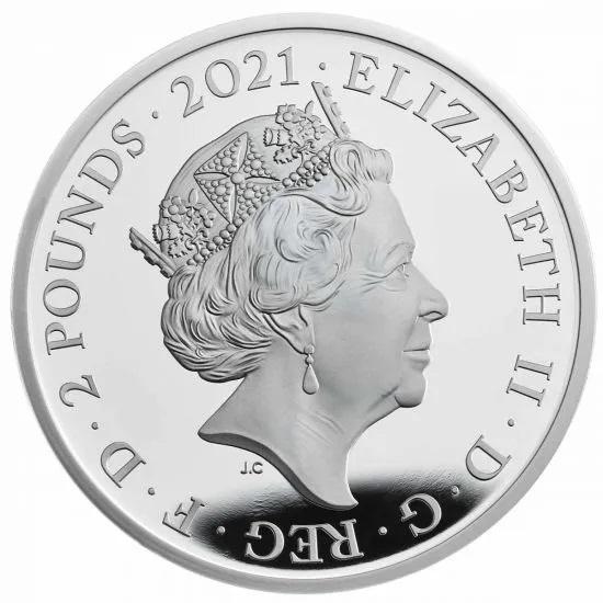 Британия монета 2 фунта 2021 год, аверс
