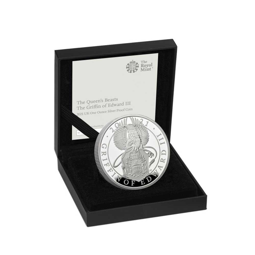 Британия монета 2 фунта Грифон, подарочная упаковка