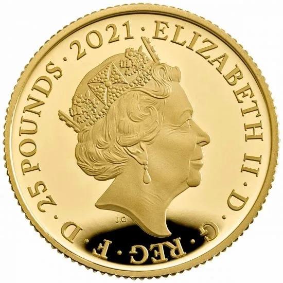 Британия монета 25 фунтов 2021 год, аверс