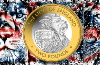 Британские территории в Индийском океане монета 2 фунта Английский лев