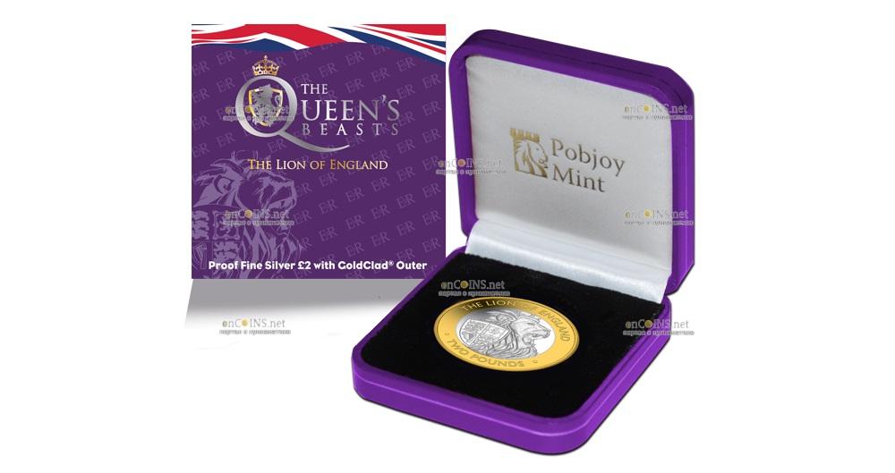 Британские территории в Индийском океане монета 2 фунта Английский лев, подарочная упаковка