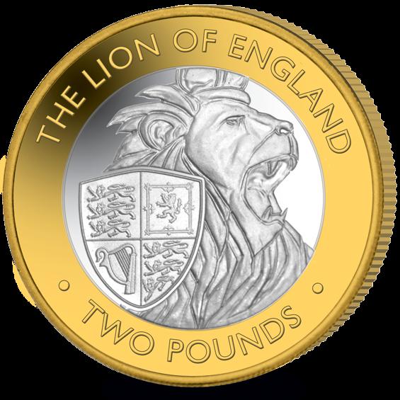 Британские территории в Индийском океане монета 2 фунта Английский лев, реверс