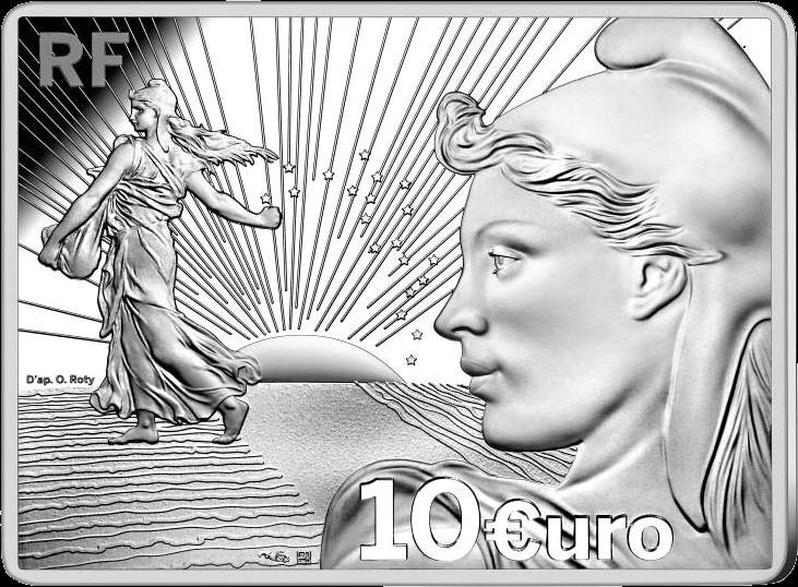 Франция монета 10 евро 20 лет стартовому набору, аверс