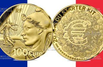 Франция монета 100 евро 20 лет стартовому набору