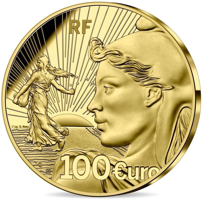 Франция монета 100 евро 20 лет стартовому набору, аверс
