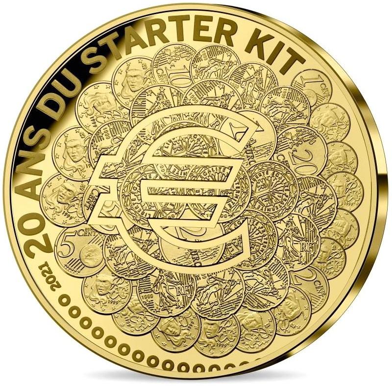 Франция монета 100 евро 20 лет стартовому набору, реверс