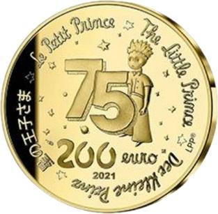 Франция монета 200 евро Маленький принц, аверс