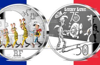 Франция монета 50 евро Счастливчик Люк - 75 лет
