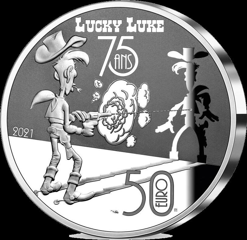 Франция монета 50 евро Счастливчик Люк - 75 лет, аверс