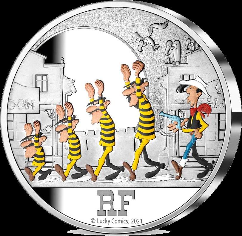 Франция монета 50 евро Счастливчик Люк - 75 лет, реверс