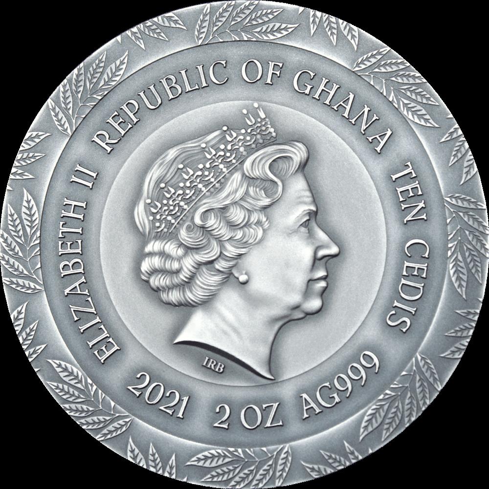 Гана монета 10 седи Гигиея, аверс