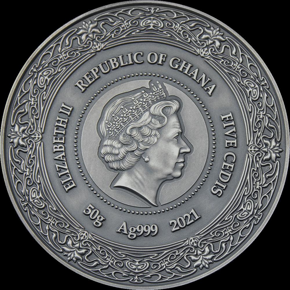 Гана монета 5 седи Жива, аверс