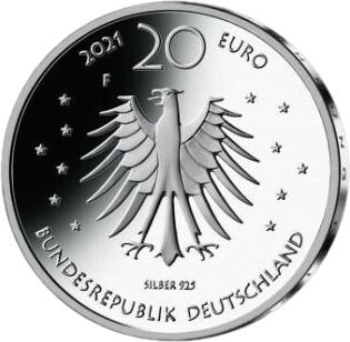 Германия монета 20 евро Госпожа Метелица, аверс