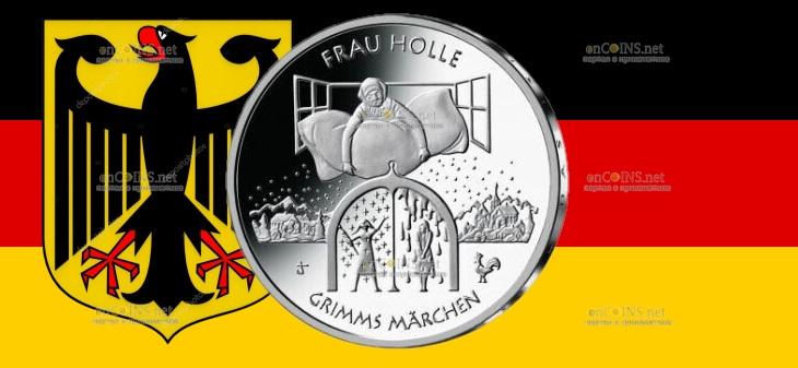 Германия монета 20 евро Госпожа Метелица