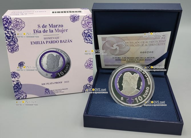 Испания монета 10 евро Дань памяти Эмилии Пардо Басан, подарочная упаковка