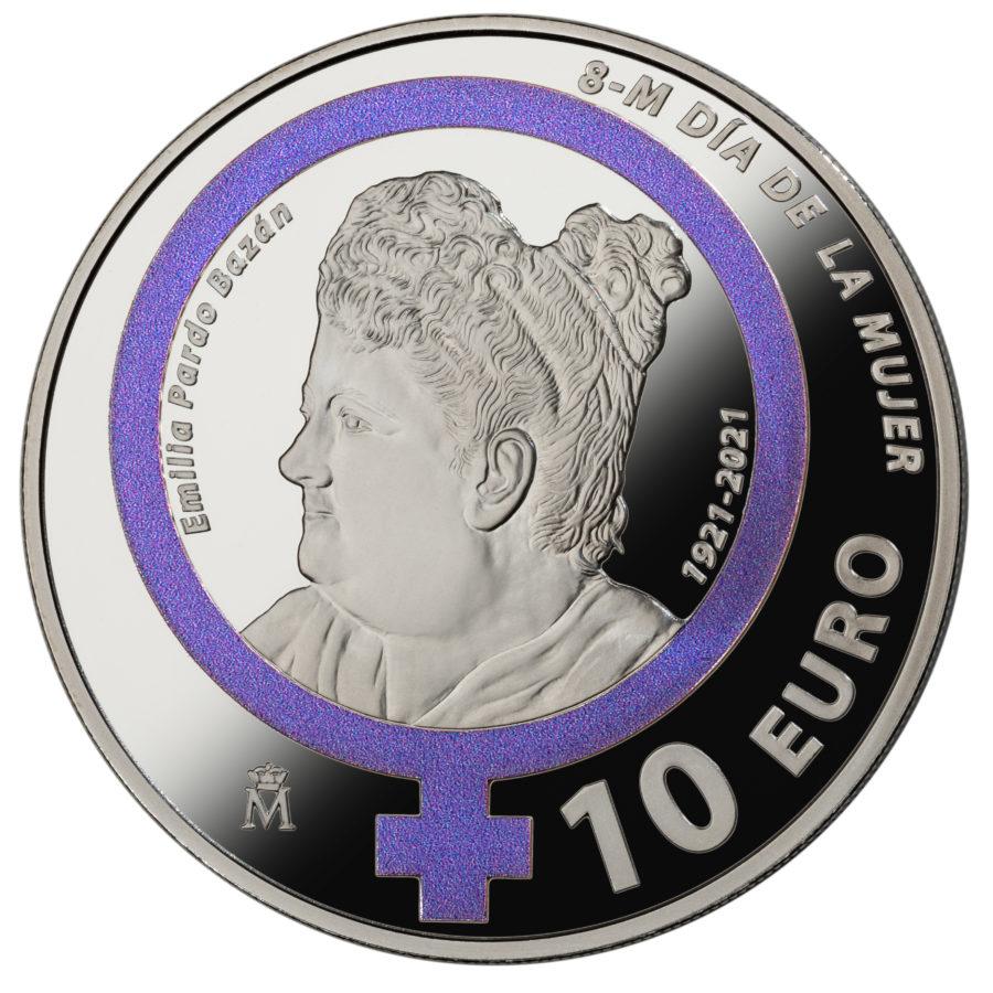 Испания монета 10 евро Дань памяти Эмилии Пардо Басан, реверс
